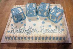 Baby Shower Sheet Cake with Blocks Baby Shower Sheet Cakes, Baby Shower Cake Designs, Cake Designs For Boy, Sheet Cake Designs, Baby Shower Cakes For Boys, Baby Boy Cakes, Boy Baby Shower Themes, Baby Shower Cupcakes, Paris Baby Shower