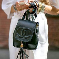 Buy your beige leather handbag CHANEL on Vestiaire Collective, the luxury consignment store online. Second-hand Beige leather handbag CHANEL Beige in Leather available. Mochila Chanel, Fashion Bags, Fashion Backpack, Fashion Shoes, Fashion Week, Fashion Handbags, Swag Fashion, Fashion Events, Miami Fashion