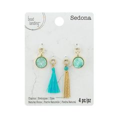 Sedona Turquoise Crystal Druzy Tassel Charms by Bead Landing™