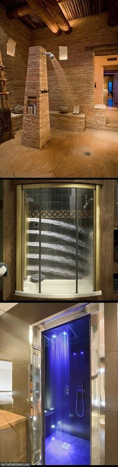 The greatest showers in the world Shower Time, Rain Shower, Bathtubs, Awesome Showers, Bathroom Showers, Waterfall Shower, Dream Bathrooms, Beautiful Bathrooms, Dream Rooms