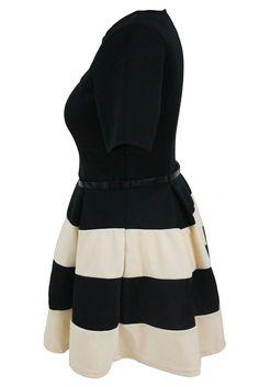71f92aa47e8 Achat Robes Grandes Tailles Patineuses Abricot Noir a Rayures Ceinture en  Petit Prix,Acheter en