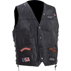 Rock Design Genuine Buffalo Leather Vest #DiamondPlate