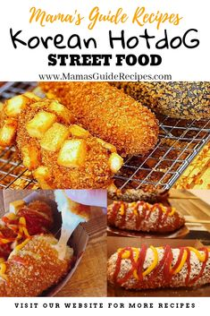 These Korean Hotdog street food are crunchy, soft and yummy! Its cheesy and delicious just like a corndog but this one is kind a unique with Dog Recipes, Asian Recipes, Gourmet Recipes, Cooking Recipes, Korean Street Food, Korean Food, Korean Hot Dog Recipe, Cheese Corn Dog Recipe, Corndog Recipe