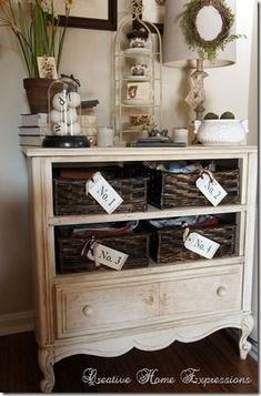 Dresser With Baskets Instead Of Drawers Via Creative Home Expressions Old Storage Cabinet