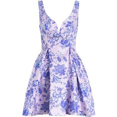 Precocious 50's Cocktail Dress ($520) ❤ liked on Polyvore featuring dresses, vestidos, short dresses, full pleated skirt, purple dress, sweetheart neckline cocktail dress and floral dress