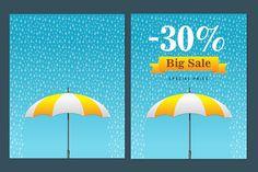 Striped umbrella with fall rain by Alex Fino on Creative Market