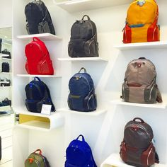 #designer #shelfie #backpacks for #hightech #travellers from Italian brand @piquadrofficial in Londons #regentstreet.  The brand uses young #designers to keep up to date with current trends that they find through ongoing #competitions.  #design #vm #visualmerchandising #travel #nomad #fashion #streetstyle #streetwear #bag #accessories #wanderlust #digitalnomad #lux #luxury