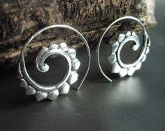 silver hoop earrings silver tribal earrings Swirling by Zephyr9