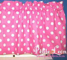 HOT PINK and White Polka Dot Retro Window Curtain by Petiteleon, $14.99