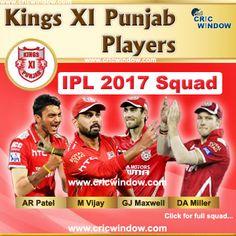 IPL 2017 Kings XI Punjab Players List http://www.cricwindow.com/ipl-10/kxip-squad-2017.html