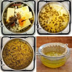 Ethiopian Spiced Clarified Butter (Niter Kibbeh) | Makes about 1 cup | 1lb butter; 4-5 cloves minced garlic; 1 sm yellow onion, chopped; 1 Tbsp grated ginger; 1.5 tsp coarsely ground black pepper | .5 tsp ground turmeric | Optional additional spices: 1 tsp cardamom seeds, 1 tsp fenugreek seeds, .5 teaspoon cumin seeds or kalonji/nigella seeds, 1 cinnamon stick, 1 clove