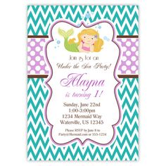 Mermaid Invitation  Teal Chevron Purple Polka by PurpleBerryInk