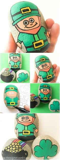 Saint Patricks Day Leprechaun Rock Painting Today I'm sharing a fun kids activity which is Saint Patricks Day Rock Painting. We have painted a Leprechaun, a pot of gold at the end of the rainbow and a shamrock stone. It was fun making these stones and this is a great arts and craft activity for … #Rockpainting #rockstone #rockstones # #craft #craftwithkids #poscapens #rockstones #rockstonepainting #storystones #stoneart #stonepainting #stoneartwork #leprechaun #saintpatricksday…