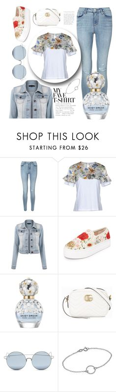 """""""Summery look☀"""" by meganvee ❤ liked on Polyvore featuring Miss Selfridge, VIVETTA, Alice + Olivia, Marc Jacobs, Gucci, For Art's Sake and MyFaveTshirt"""