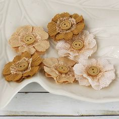 Prima Flowers Handmade Primmer's Collection Fabric Flowers with Button Center - Peanut Burlap Lace, Burlap Fabric, Burlap Flowers, Faux Flowers, Diy Flowers, Fabric Flowers, Paper Flowers, Hessian, Burlap Projects