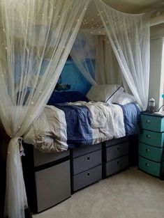 Dorm storage ideas dorm room storage under bed dorm room closet Dorm Room Closet, Dorm Room Storage, Bed Storage, Storage Drawers, Dorm Room Beds, Dorm Room Privacy, Cozy Dorm Room, Bed In Closet, Dorm Room Bedding