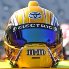 Kyle Busch M&M's Stilo NASCAR helmet Fox Racing, Racing Team, Drag Racing, Dirt Bike Helmets, Racing Helmets, Sports Helmet, Football Helmets, Kyle Bush