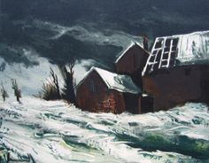 Maurice de Vlaminck, Farmhouse in the snow Lithograph, 1957