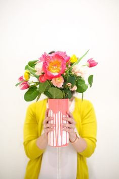 DIY, craft, summer, yellow and pink, spring, floral, drip vase