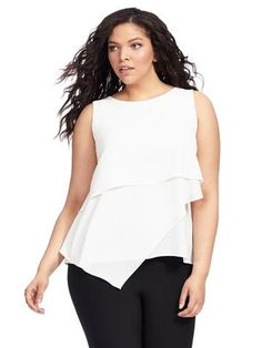 Vince Camuto | Asymmetrical Layered Blouse | Gwynnie Bee