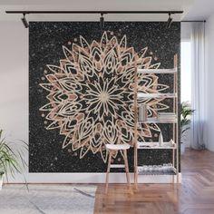 Metallic Mandala Wall Mural by beebeedeigner Black Marble Background, Wall Murals, Wall Art, Modern Art, Contemporary, Mandala, Metallic, Ceiling Lights, Interior Design