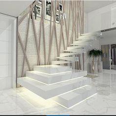 Beautiful staircase design by Carolina Napy Hamad via . Staircase Design Modern, Luxury Staircase, Home Stairs Design, Interior Staircase, Modern Stairs, Dream Home Design, Modern House Design, Door Design, Home Interior Design