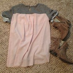 AE gray sparkle with pink chiffon back Ballerina beautiful!!! ❤️ gray terry with gold sparkle (see sparkle in last pic) front and light pink chiffon back. Very loose and comfy. Back has key hole closure. Size L and fits as a L. Excellent condition and smoke free home American Eagle Outfitters Tops Blouses