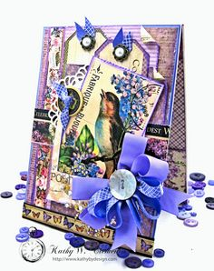 I've turned this Purple Songbird All Occasion Greeting card into a gift by adding a pair of pretty pockets, a gift card wallet and hand made button card.