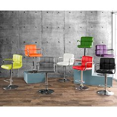 $100 Furniture of America Corvelli Adjustable Swivel Leatherette Bar Stool | Overstock.com Shopping - Metal armrest with leatherette strap accent Adjustable gas lift smooth motion mechanics Chrome-plated supported post and base foundation  Leatherette, metal Finish: Metal finish White, black, grey, red, orange, green, lime, purple Seat dimensions: 25.5 to 31 inches high x 15.75 inches deep 37.75 inches high x 20.25 inches wide x 19 inches deep