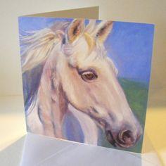 Large notecards White horse design by pastelesta on Etsy £8
