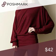 Burgundy Dolman Top 2-tone Dolman Top with accentuated wrist and waist bands.   100% Polyester Tops Tees - Long Sleeve