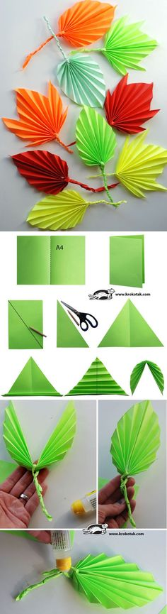 DIY paper leaves tutorial , paper flowers paper in half draw diagonal cut along diagonal.use 2 loose triangles to twist into vine open symmetrical triangle and fold leave if folded, twist paper vine or pipecleaner into middle open and tape Origami Paper, Paper Quilling, Diy Paper, Paper Crafting, Paper Art, Fun Origami, Oragami, Kids Crafts, Diy And Crafts