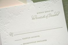 beautiful snowflake wedding invitations  Like the simple elegance of these cards.