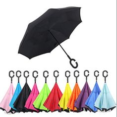 Mountain Bike Rider In Wild Mountain Double Layer Windproof UV Protection Reverse Umbrella With C-Shaped Handle Upside-Down Inverted Umbrella For Car Rain Outdoor