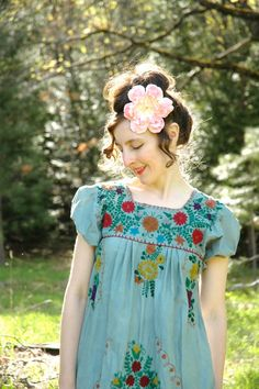 Embroidered Mexican Dress Vintage Floral Cotton by AstralBoutique, $38.00