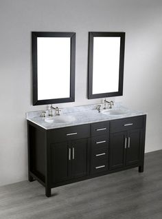 """View the Bosconi SB-252-4 60"""" Free Standing Vanity Set with Wood Cabinet, Marble Top, 2 Undermount Sinks, and 2 Mirrors at Build.com."""