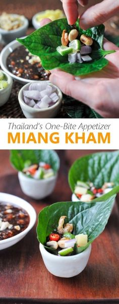 Thai Appetizer recipe.  Miang Kham is Thailand's famous one-bite appetizer that features spicy, sour, salty, and sweet flavors all in one delicious bite | rachelcooksthai.com