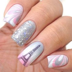 Water marble with Eiffel Tower nails