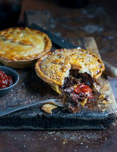 Beef, bacon and mushroom pies with mozzarella and caramelised onions