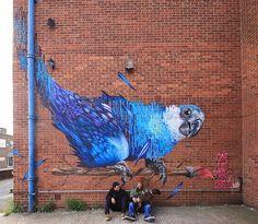 Louis Masai + Mateus Bailon with their work in London #streetart