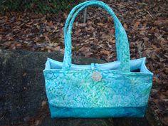 Quilted Aqua Teal Purse Bag Tote by Jackiesewingstudio on Etsy