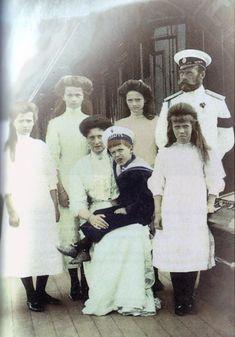Nicholas II of Russia, Alexandra Feodorovna, Grand Duchesses Olga, Tatiana, Maria and Anastasia and tsarevitch Alexei Romanov on the ship in 1910(?). Originally black and white photo colored in gimp by *MemoriesOfTime97