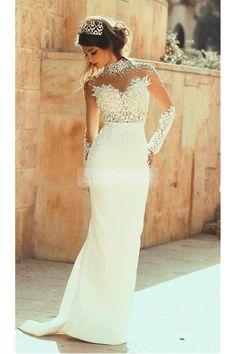 Beading High Collar Long Sleeves Sheath/Column Wedding Dress
