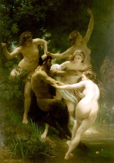 Nymphs and Satyr (1873)   artwork by William-Adolphe Bouguereau