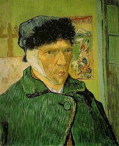 Vincent van Gogh, Zelfportret met verbonden oor, 1889, olieverf op doek, 60 x 49 cm, Courtauld Institute of Art Gallery, Londen - Info schilderij: http://www.artsalonholland.nl/meesterwerken/vincent-van-gogh-zelfportret-met-verbonden-oor