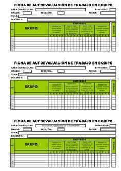 FICHA DE AUTOEVALUACIÓN DE TRABAJO EN EQUIPOÁREA CURRICULAR:                                                              ...