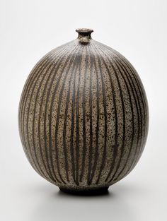 Peter Voulkos,  Striped Vase, c. 1953, earthenware; 13.75 x 11 inches diameter; Gift of