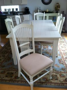 Before picture:   Reupholster seat cushions for a fresh look. #DIY #chairs  #reupholster