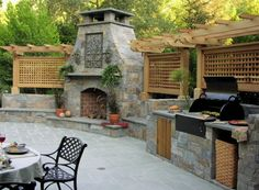 Outdoor fireplace w/built-in outdoor kitchen & pergola Outdoor Rooms, Outdoor Living, Outdoor Kitchens, Outdoor Photos, Built In Grill, Outside Living, Summer Kitchen, Outdoor Kitchen Design, Kitchen Seating