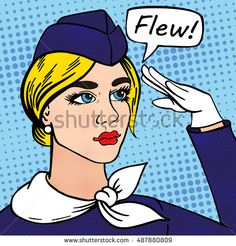 Girl stewardess drawn vector pop art style. Illustration can be used as a postcards, advertising, cover, booklet and etc.Business concept success. Profession uniform beauty.